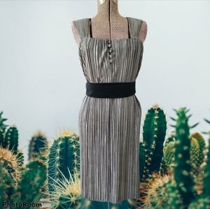 Vintage 80's pleated silver dress